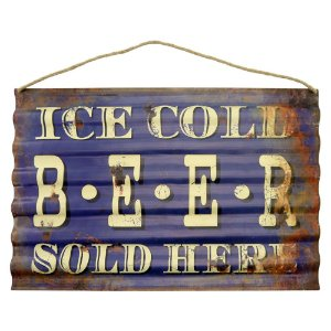 Placa Ondulada Ice Cold Beer Sold Here CW-21