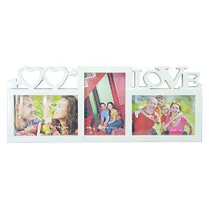 Porta Retrato Love Triplo Branco DI-21 A