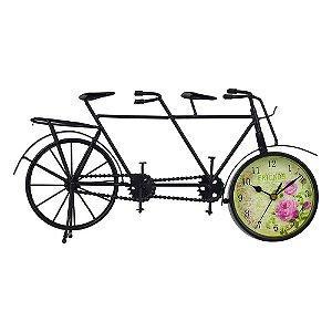 Relógio de Mesa Bicicleta Flores em Metal DS-51