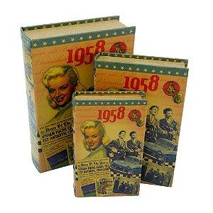 Jogo c/3 Porta Objetos Livro 1958 DX-12