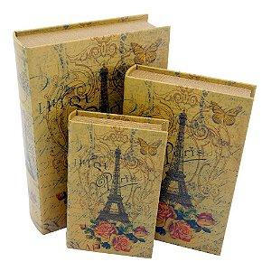 Jogo c/3 Porta Objetos Livro Paris e Flores DX-17