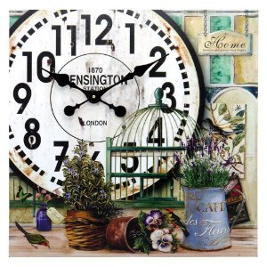 Relógio De Parede Gaiola e Vasos De Plantas DX-30