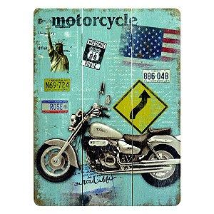 Quadro de Madeira Motorcycle Cinza DX-40 D