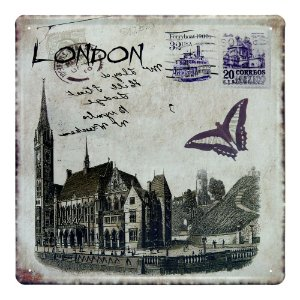 Placa De Metal Cartao Postal London DX-71