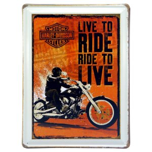 """Placa de Metal """"Live to Ride, Ride to Live"""" DX-78"""