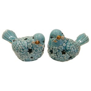 Jogo c/2 Pássaros Azuis de Cerâmica FG-19