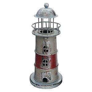 Farol Decorativo Vermelho Listrado de Metal FG-45 B