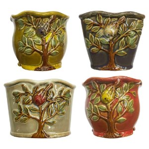 Jogo c/4 Mini Vasos Árvore em Cerâmica HC-25