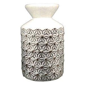 Vaso Branco Texturizado Flor HC-60 B