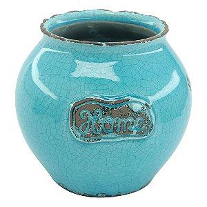 Vaso De Cerâmica Oval Home Azul LJ-61