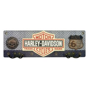 Cabideiro Rústico Harley Logo Branca MH-11