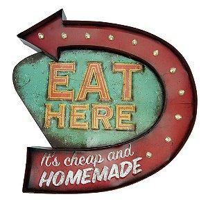 """Placa """"Eat Here"""" com luzes de LED MT-09"""