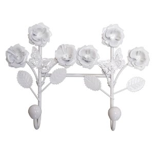 Cabideiro Duplo Flowers em Metal VM-92