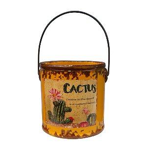 Mini Vaso Rústico Cactus Laranja em Cerâmica SV-96 C