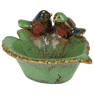 Saboneteira Pássaros na Folha em Cerâmica FG-81