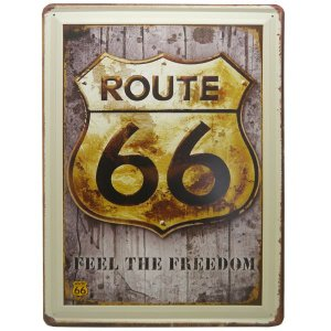 Placa Route 66 Freedom em Metal DS-28