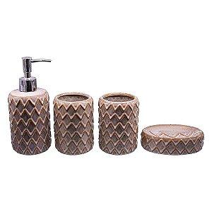 Kit Banheiro Asteca Marrom YG-55 A