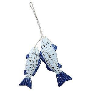 Enfeite Peixe Azul No Anzol em Madeira CY-53