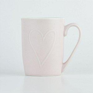 Caneca Rosa Coração em Cerâmica YM-66 A