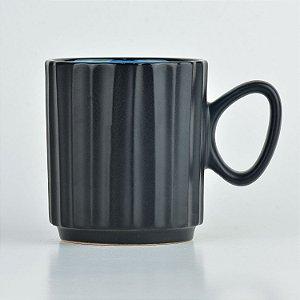 Caneca Black Azul em Cerâmica YN-33 A