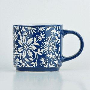 Caneca Azul Flores em Cerâmica YN-38 B