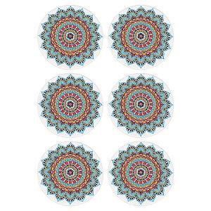 Jogo c/6 Porta Copos Mandala Azul em Cerâmica YI-43A