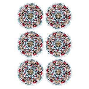 Jogo c/6 Porta Copos Mandala Flor em Cerâmica YI-43D