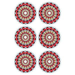 Jogo c/6 Porta Copos Mandala Vermelha em Cerâmica YI-43C