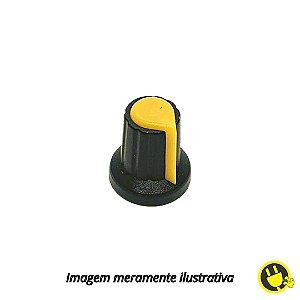 Knob para Potenciômetro Preto com Amarelo