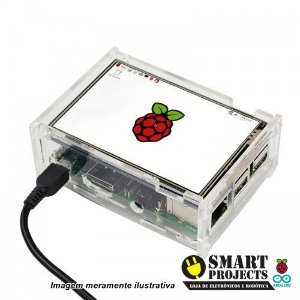 "Case acrílico para display 3,5"" Raspberry Pi"