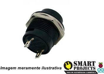 Chave Botão R13-507 2 terminais s/ trava preto