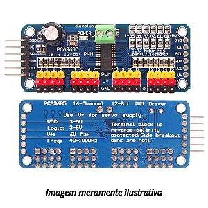 Módulo PWM Para 16 Servos Controlados Por I2C Através Do CI PCA9685