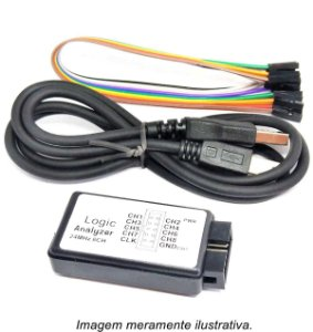 Analisador Lógico 8 Canais 24MHz com Interface USB