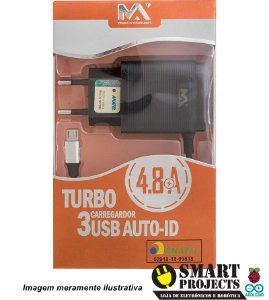 Carregador De Parede Turbo 4.8a Micro Usb V8