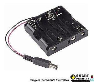 Suporte Porta 4 Pilhas Aa Com Plug P4 - Fonte P/ Arduino