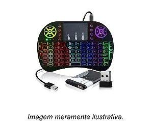 Mini Teclado Controle Sem Fio Touch Pad Iluminado Smart Tv Box Pc Xbox