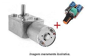 Motor 12v DC c/ caixa de redução reversível + Dimmer 3~35v controle de velocidade