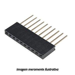Barra de 1x10 Pinos Fêmea / Conector Empilhável Para Arduino