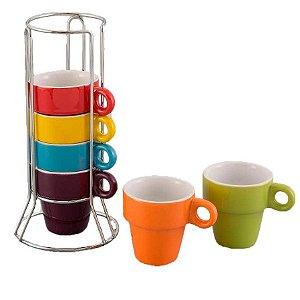 Conjunto de Canecas Coloridas Unicasa para Café em Cerâmica 50 ml com Suporte de Alumínio 18 x 8 cm