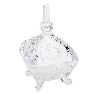 Bomboniere de Cristal Dragon Lyor com Tampa e Pé de Cristal 10,3 x 17,2 cm  - Ref. 3682