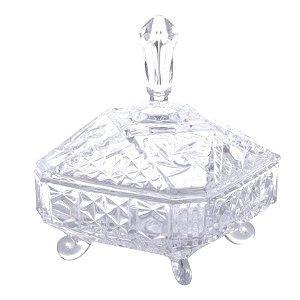 Bomboniere de Cristal Paladium Lyor com Tampa e Pé de Cristal 16 x 20 cm  - Ref. 3330