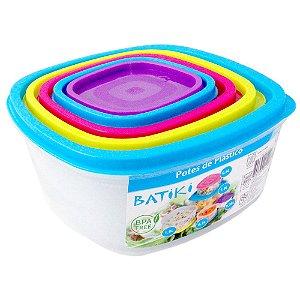 Kit com 5 Potes de Plástico BPA Free Batiki Transparente com Tampas Coloridas 8,5 x 18 cm - Ref. 87220
