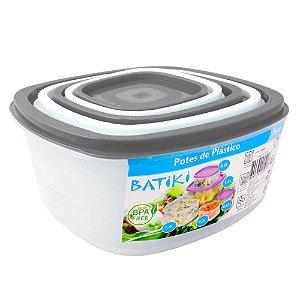 Kit com 5 Potes de Plástico BPA Free Batiki Transparente com Tampa Branca e Preto 8,5 x 18 cm - Ref. 06390