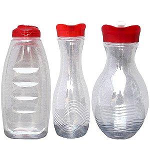 Kit com 3 Garrafas Transparente de Plastico PET e Tampa PP nas Medidas 1000, 1000 e 1500 ml - Cor: Vermelho