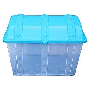 Baú Caixa Infantil Usual Plastic de Plástico Transparente com Tampa Azul de 43 Litros - Med: 38 x 34 x 53 cm - Ref. 52