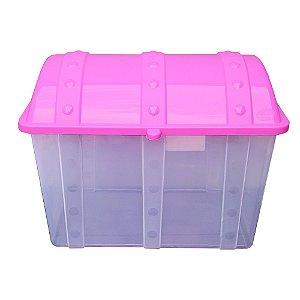 Baú Caixa Infantil Usual Plastic de Plástico Transparente com Tampa Rosa de 43 Litros - Med: 38 x 34 x 53 cm - Ref.