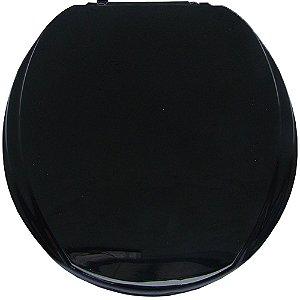 Assento Sanitário Oval Mebuki Línea Slim Almofadado com Tampa Envolvente 39 x 44 x 3 cm - Cor: Preto - AAS13