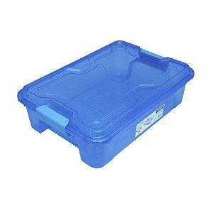 Organizador Multiuso de Plástico 10L Tampa e Travas Usual Plastic 41,7 × 29,2 × 12,2 cm - Cor: Azul Trans - Ref. 367