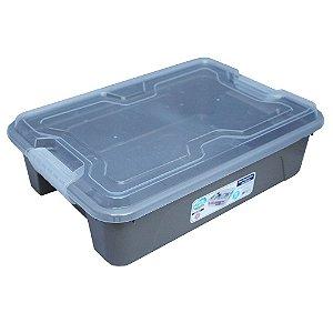 Organizador Multiuso de Plástico 10L Tampa e Travas Usual Plastic 41,7 × 29,2 × 12,2 cm - Cor: Cinza Sólido - Ref. 376