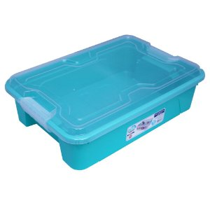 Organizador Multiuso de Plástico 10L Tampa e Travas Usual Plastic 41,7 × 29,2 × 12,2 cm - Cor: Verde Sólido - Ref. 376